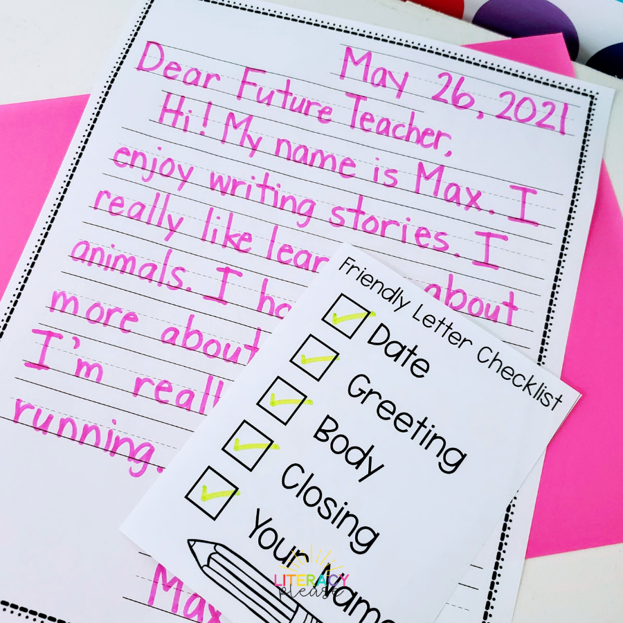 Google Friendly Letter Checklist
