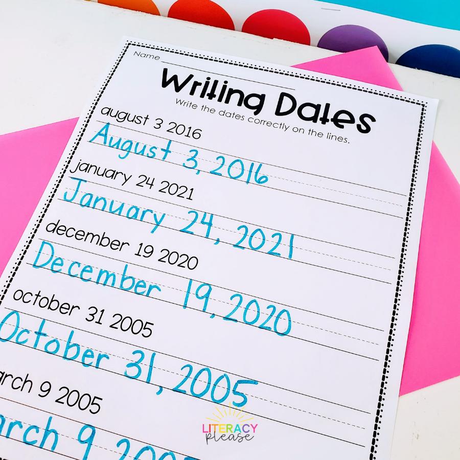 Google Writing Dates Worksheet pdf
