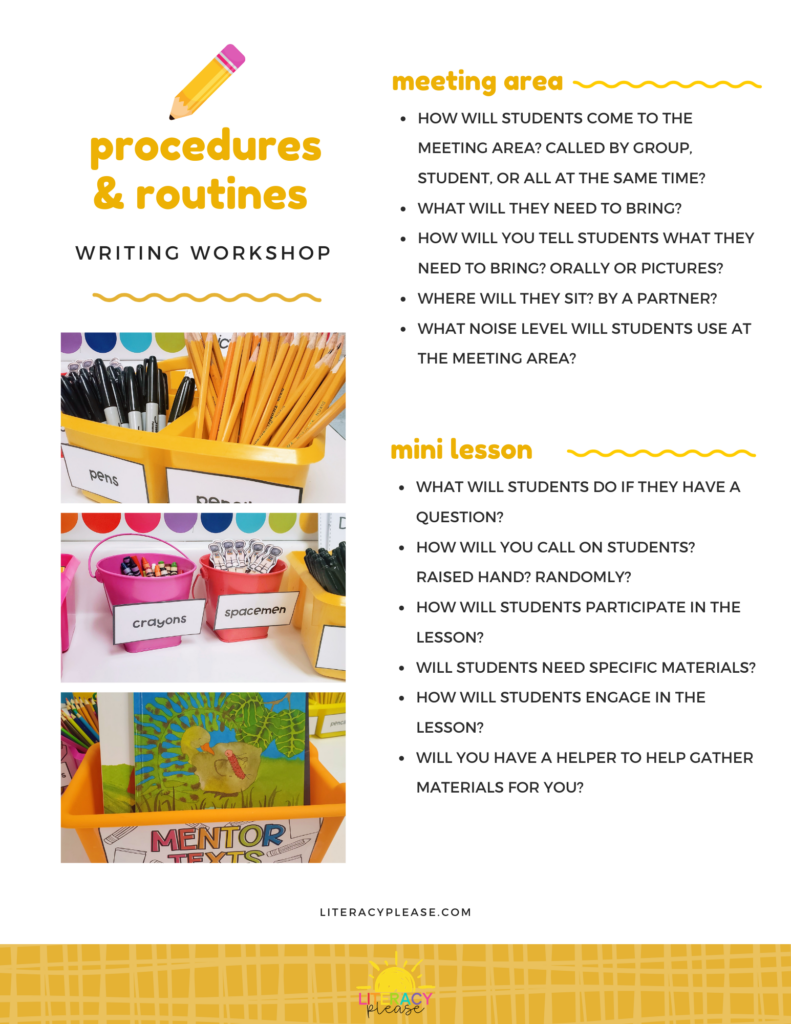 Google Procedures and Routines for Writing Workshop